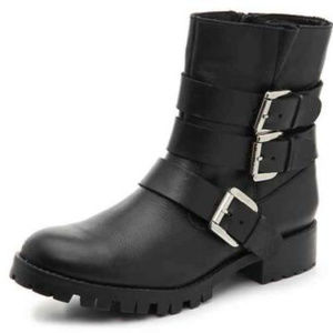 STEVE MADDEN MALY MOTO BOOTS ~ 8.5 ~ BLACK LEATHER